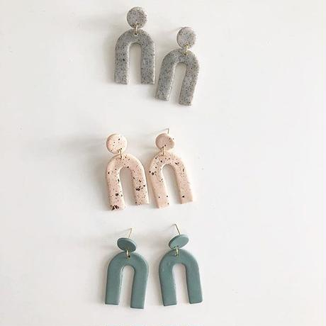 Speckled Nude Arc Earrings