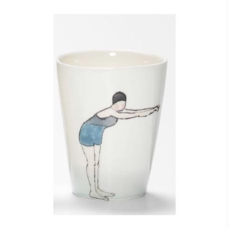 Swimmer Beaker with Lady blue costume, navy cap