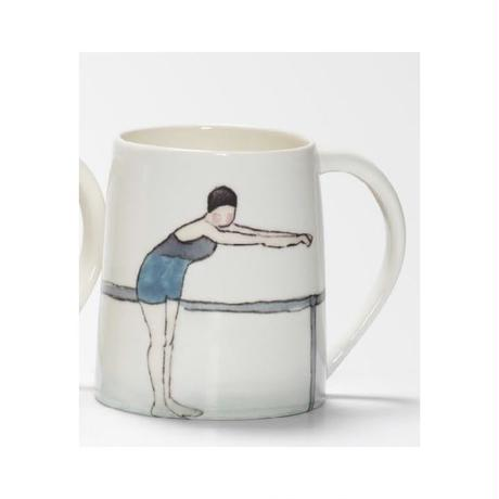 Swimmer Mug with Lady blue costume, navy cap