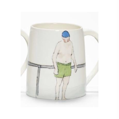 Swimmer Mug with Man green shorts, blue cap