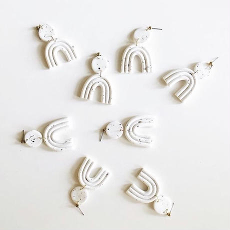 Speckled White Astrid Earrings