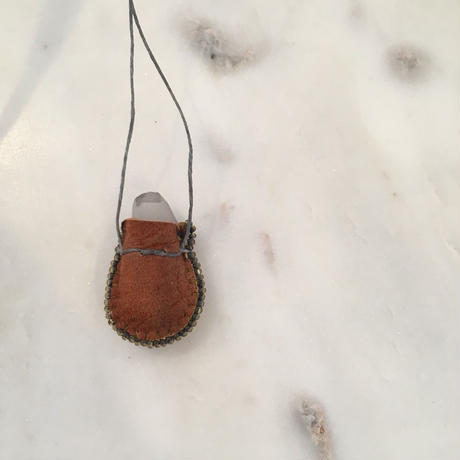 Original Mini Pouch Protector —Brown leather & Gray Transparent beads