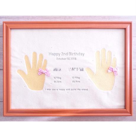 刺繍手形アート(お誕生日記念)