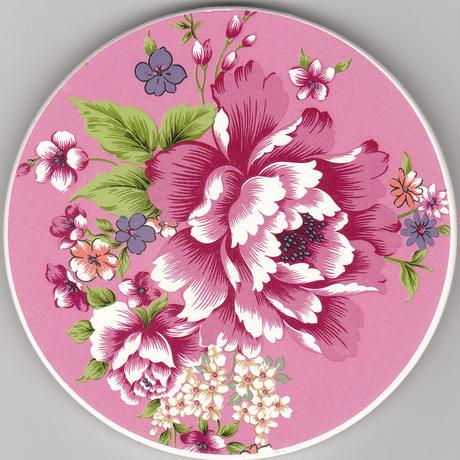 セラミック吸水コースター 牡丹 ピンク