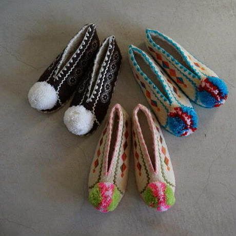 Wool slippers for adult with Pink bonbon  / Precious Little Thing