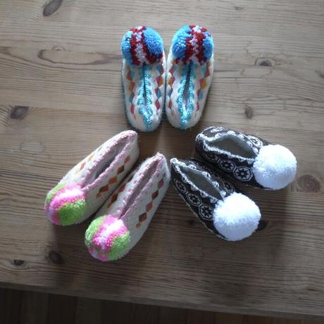 Wool slippers for kids with White bonbon  / Precious Little Thing