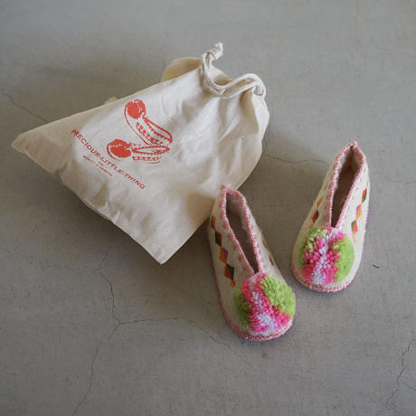 Wool slippers for kids with Pink bonbon  / Precious Little Thing