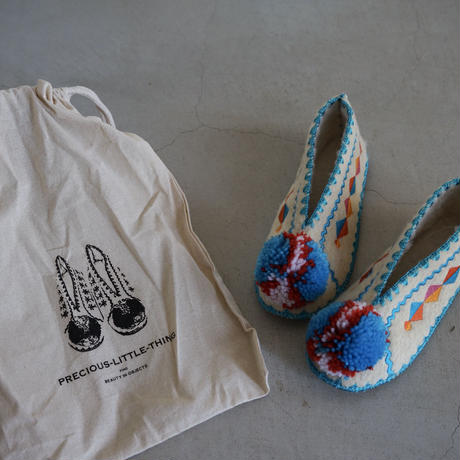 Wool slippers for adult with Blue bonbon  / Precious Little Thing