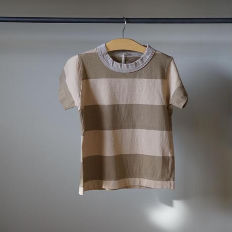 homspun 子ども用ボーダーTシャツ/ベージュx L.ブラウン