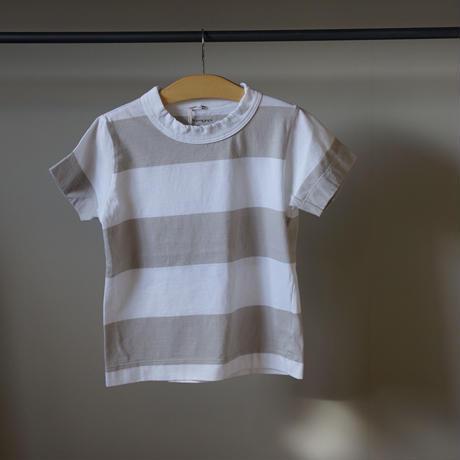 homspun 子ども用ボーダーTシャツ/グレージュxホワイト