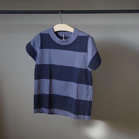 homspun 子ども用ボーダーTシャツ/ブルーグレーxネイビーグレー