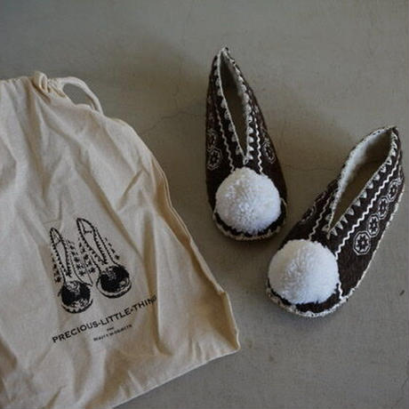 Wool slippers for adult with White bonbon  / Precious Little Thing