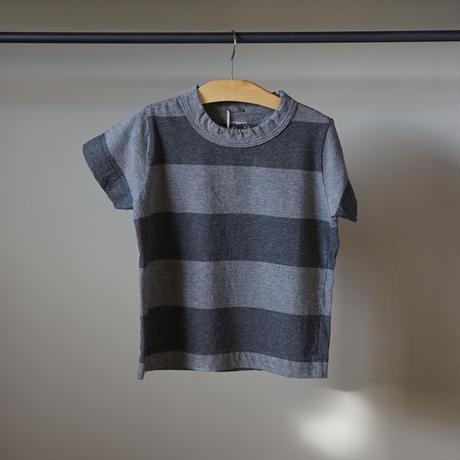 homspun 子ども用ボーダーTシャツ/グレーxチャコール