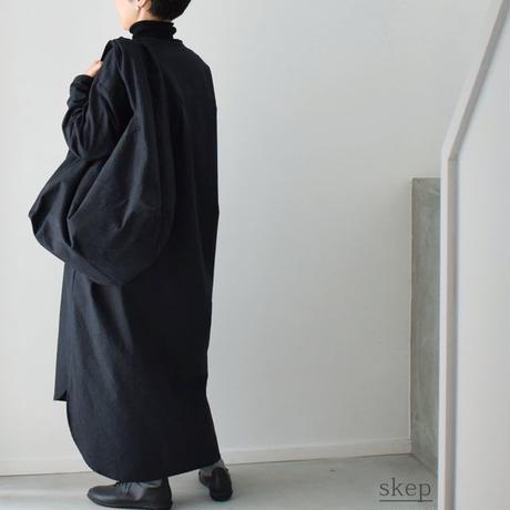 パラフィン加工 コットンショルダーバッグ【ポケット付】:黒