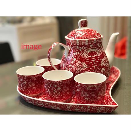 【香港☆囍】☆Renewal☆茶器セット・ティーポット1、ティーカップ6、ハートトレイ1