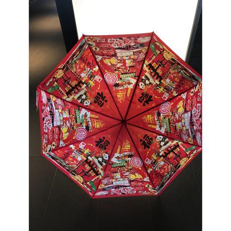 【香港☆Lorette E.Roberts】  紅色とイラストが素敵です!!ワンタッチ長傘