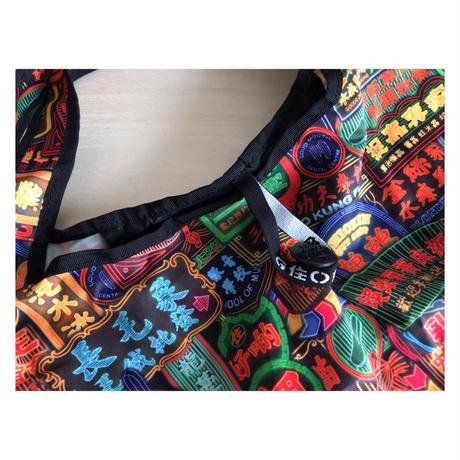【香港☆G.O.D.】foldable shopping bag with button  /  しっかり生地 5種類有ります