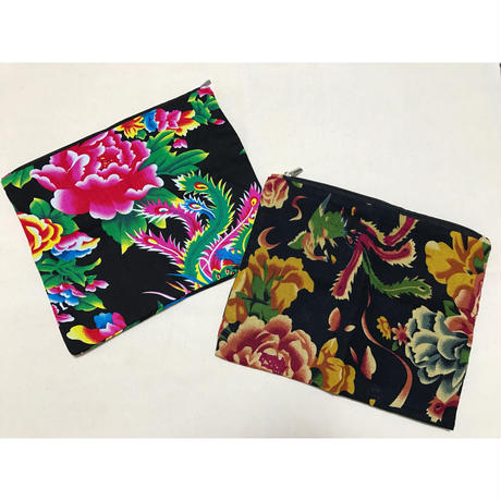 ☆Handmade☆【香港・花布】 スカーフポーチ / ヴィンテージ布含む2色
