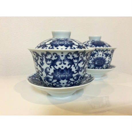 🉐SALE【香港☆景徳鎮制】藍色 蓋付茶碗  / デイリーユースのお揃い食器
