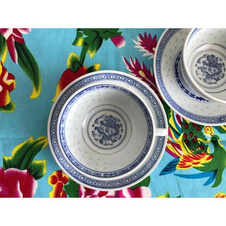 【香港☆中国景徳鎮】手書き 龍(藍)カップ&ソーサー  /  綺麗な蛍焼き・青花杯碟