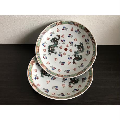 【香港☆中国景徳鎮】(白)龍柄の綺麗な色の深皿 / 七寸深皿