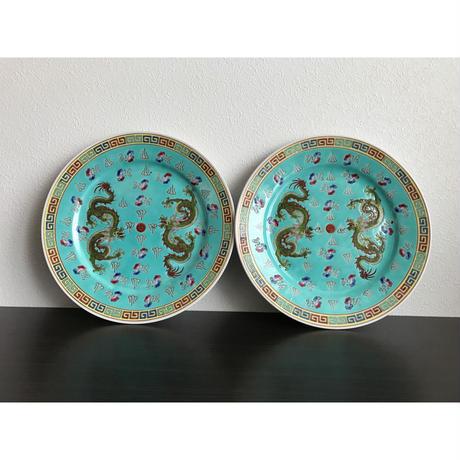 【香港☆中国景徳鎮】龍柄の綺麗な色の大皿 G-5889