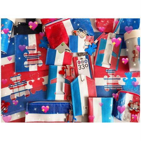 【香港☆紅白藍330】熊白藍・ 電話袋   /  ポシェット+熊のアップリケ