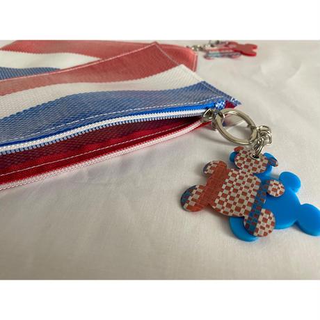 【香港☆紅白藍330】熊白藍・ 扁身萬用袋   /  フラットポーチwithキーチェーン(2 bears)