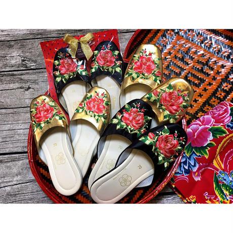 【香港☆slipper】「英皇拖鞋公司」Made in Hong Kong  /  華やかな刺繍のスリッパ