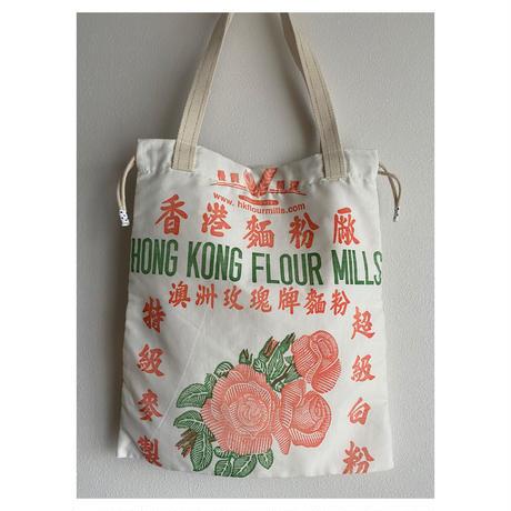 ☆Handmade☆【香港麵粉厰】(大)  TOTE BAG「 巾着バッグ」 No.2005131  /  HONG KONG FLOUR MILLS