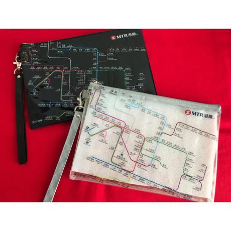 【香港☆MTR pouch】(大)MTR SYSTEM MAP柄 ポーチ / 片面半透明