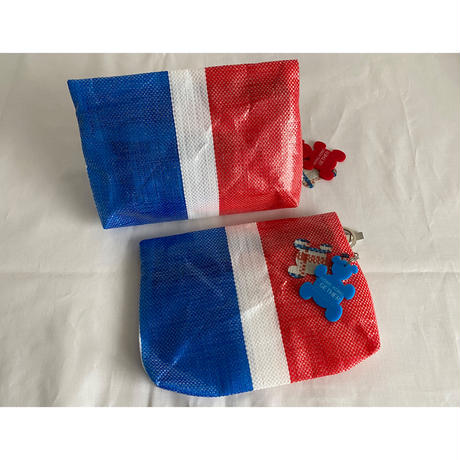 【香港☆紅白藍330】熊白藍・ 萬用袋   /  多目的ポーチwithキーチェーン(2 bears)