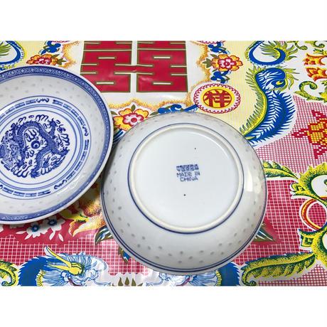 【香港☆中国景徳鎮】蛍焼き・龍柄の深皿  / 明りに透かすと綺麗です  Y-5895
