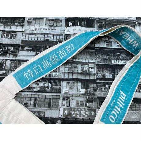 ☆Handmade☆【香港×Philippines】「特白高級面粉」(サックス系)TOTE BAG   /PILMICO FOODS