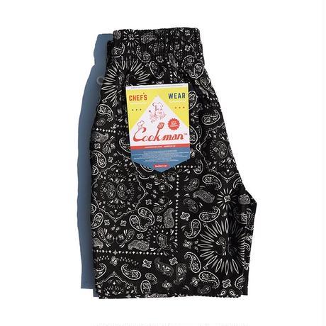 【COOKMAN】Chef Pants Short Paisley Black
