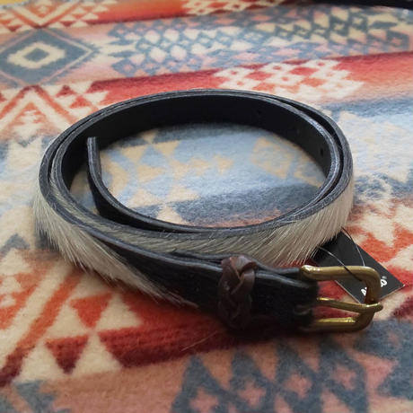 ANGLO LEATHER CRAFT 『HAIR LEATHER BELT(BLACK/WHITE)』