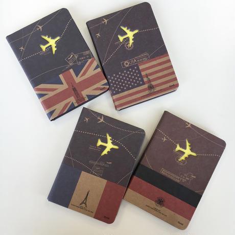 選べる4つの国旗♪イエローの飛行機がかわいいメモ帳