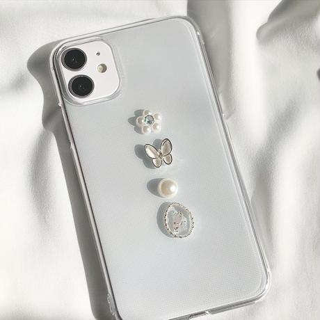 バタフライ iPhoneケース(シルバー)