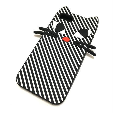 iphone7 ケース シリコン ソフト 3D ストライプ キャット