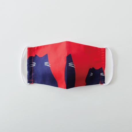 印染 布マスク『猫』柄 Mサイズ /7925