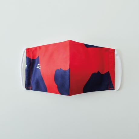 印染 布マスク『猫』柄 Lサイズ /7941