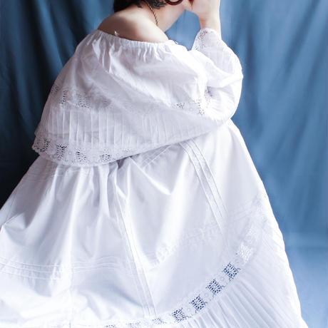 【Seek nur】Rabatine Collar Lace White Dress