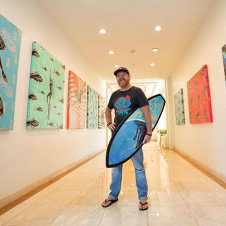 【Eduardo Bolioli エドゥアルド・ボリオリ】オリジナルサーフボードアート 『Whale  Sharks』原画