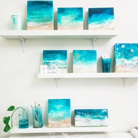 【Sarah Caudle / サラカードル】Waikiki Beach 《Open Edition Resin Prints》12×16in