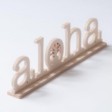 SoHa LIVING/Aloha With Pineapple Natural Birch Plaque  メッセージロゴウッドスタンド/L