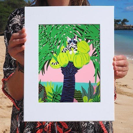 【Kim Sielbeck キム・シルベック】デジタルプリントアート Coco Kitty  11×14
