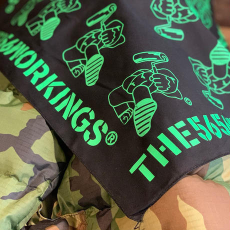 5656WORKINGS/PD TEAM BANDANNA_BLACK×LIME GREEN