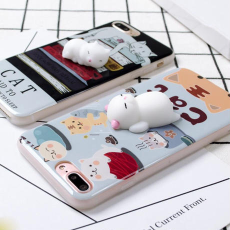 [NW313]★ iPhone 6 / 6s / 6Plus / 6sPlus / 7 / 7Plus / 8 / 8Plus ★ シェルカバー ケース 眠り ネコ イラスト 漫画 マスコット