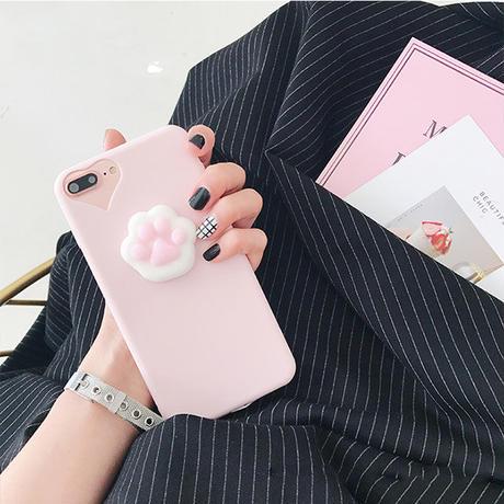 [NW342]  ★ iPhone 6 / 6s / 6Plus / 6sPlus / 7 / 7Plus / 8 / 8Plus ★ シェルカバー ねこ 肉球 ぷにぷに やわらか ピンク