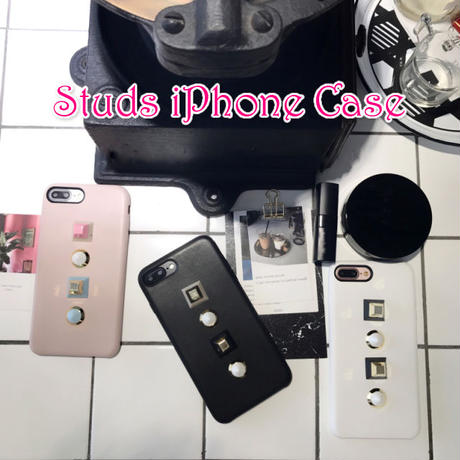 [NW077] ★ iPhone 6 / 6s / 6Plus / 6sPlus / 7 / 7Plus / 8 / 8Plus ★ シェルカバー ケース スクエア ラウンド スタッズ